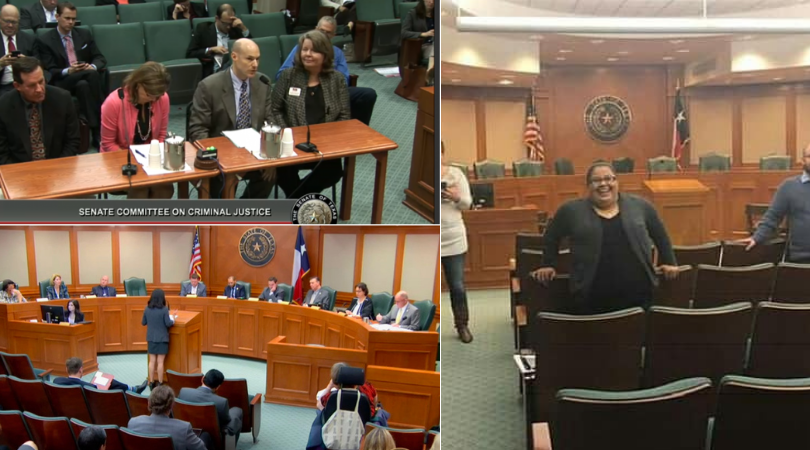 Members of the Texas Criminal Justice Coalition team testifying during the 2019 Texas Legislative Session
